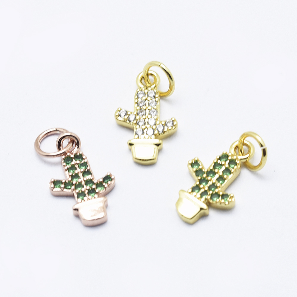 PandaHall Environmental Brass Micro Pave Cubic Zirconia Charms, Cadmium Free & Nickel Free & Lead Free, Cactus, Mixed Color, 14x8x2mm, Hole...