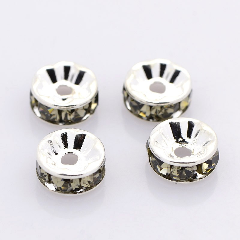 PandaHall Brass Rhinestone Spacer Beads, Grade AAA, Straight Flange, Nickel Free, Silver Metal Color, Rondelle, Black Diamond,  7x3.2mm...