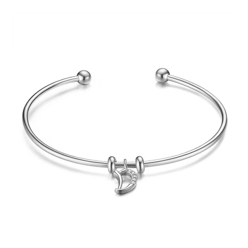 PandaHall SHEGRACE® 925 Sterling Silver Cuff Bangle, with Grade AAA Cubic Zirconia, Letter D, Platinum, 2-3/8(6.16cm) Sterling Silver...