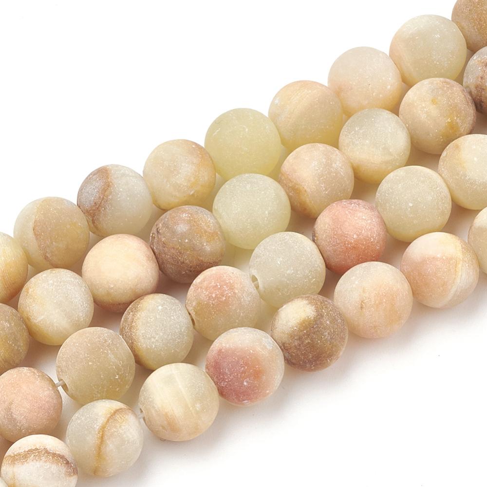 PandaHall Natural Jade Beads Strands, Frosted, Round, 8~8.5mm, Hole: 1mm; about 47pcs/strand, 15.5