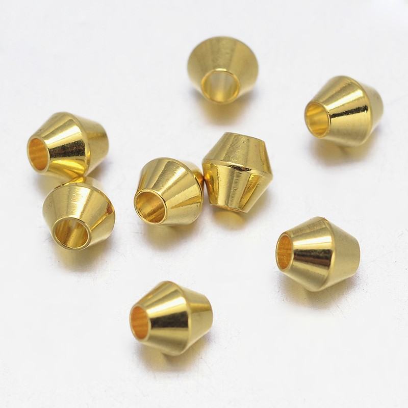 PandaHall_Bicone_Brass_Bead_Spacers_Barrel_Plating_Golden_4x4mm_Hole_2mm_Brass_Bicone