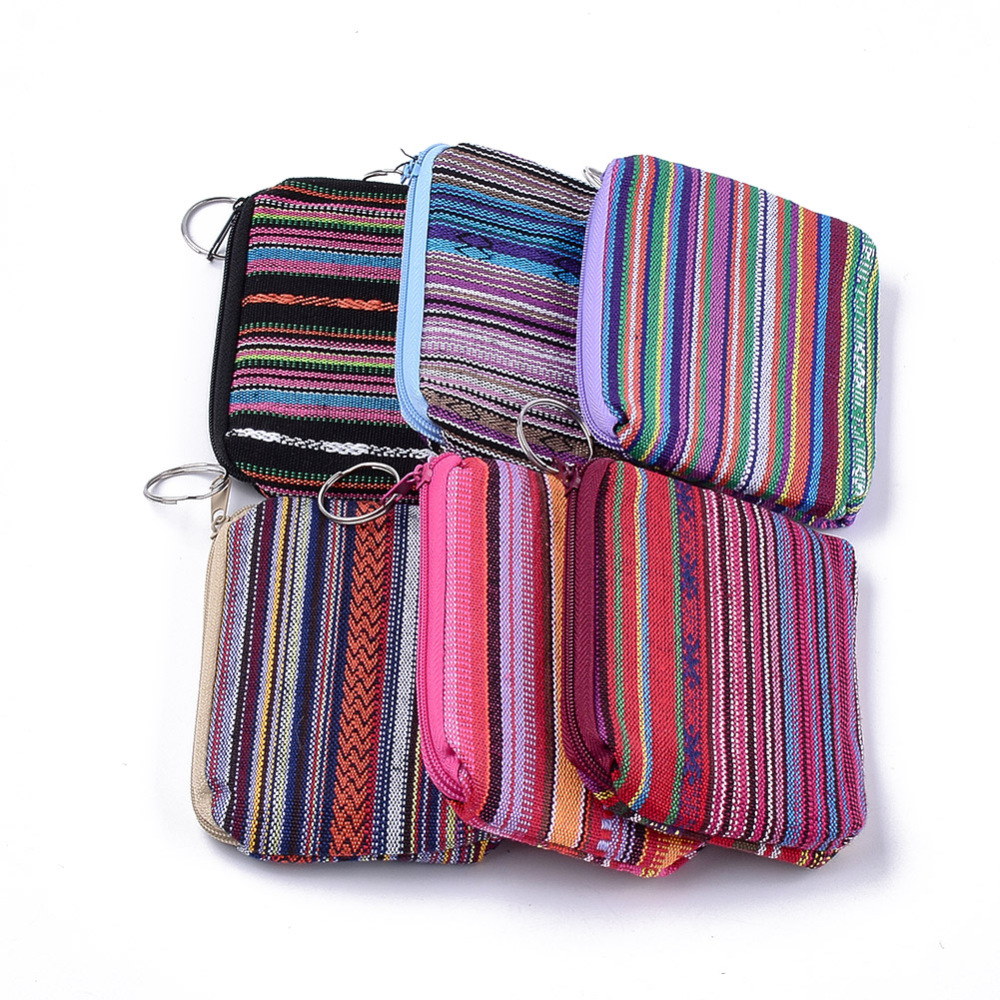 PandaHall Cloth Clutch Bags, Change Purse, with Iron Ring, Mixed Color, 120~122x88~92x12~13mm Cloth Multicolor (ABAG-S005-08 1763042) photo