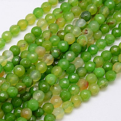 PandaHall Natural Agate Beads Strands, Faceted, Dyed, Round, YellowGreen, 8m..