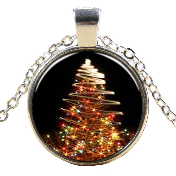 PandaHall_Christmas_Theme_Glass_Pendant_Necklaces_with_Alloy_Findings_Flat_Round_with_Christmas_Tree_Silver_17745cm_Pendant_27mm