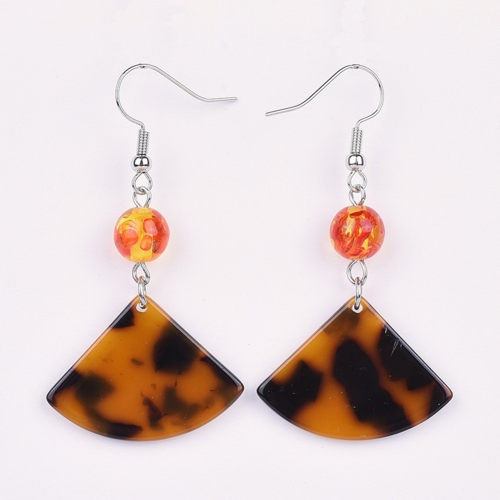 PandaHall Cellulose Acetate(Resin) Dangle Earring, with Resin Imitation Ambe..