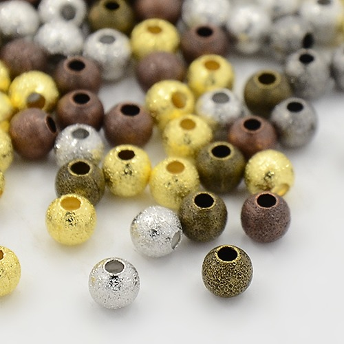 PandaHall_Brass_Textured_Beads_Cadmium_Free_&_Lead_Free_Round_Mixed_Color_4mm_Hole1mm_Brass_Round