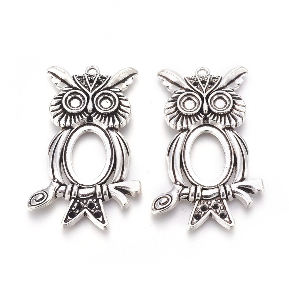 PandaHall_Tibetan_Style_Halloween_Owl_Pendant_Cabochon_Settings_Cadmium_Free_&_Lead_Free_Antique_Silver_67x42x6mm_Inner_Size_18x25mm