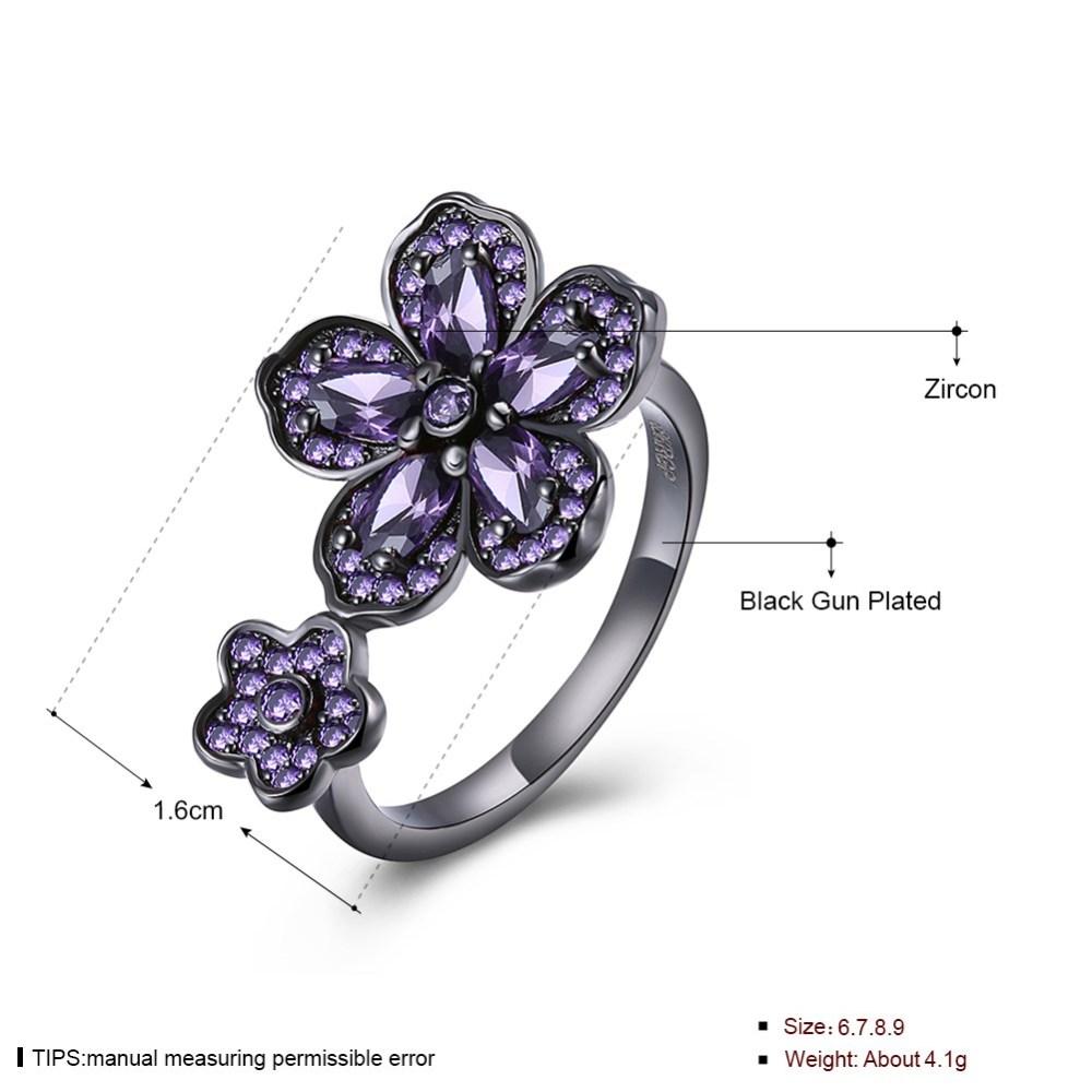 PandaHall_Wonderful_Brass_Cubic_Zirconia_Finger_Rings_Flower_MediumPurple_Gunmetal_Size_7_173mm_BrassCubic_Zirconia_Purple
