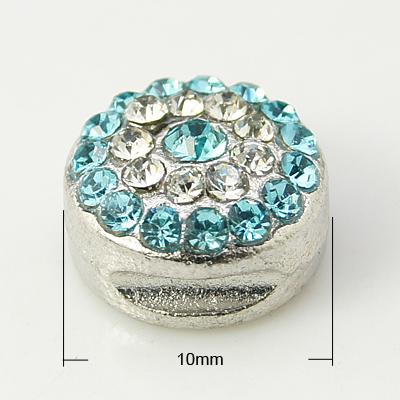 PandaHall Alloy Rhinestone Beads, Grade A, Platinum Color, Round, Aquamarine..