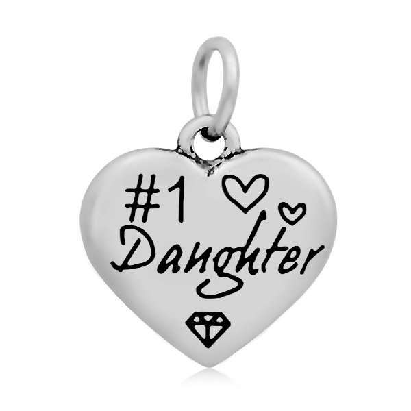 PandaHall 316 Stainless Steel Enamel Pendants, Heart with Word Daughter, Sta..