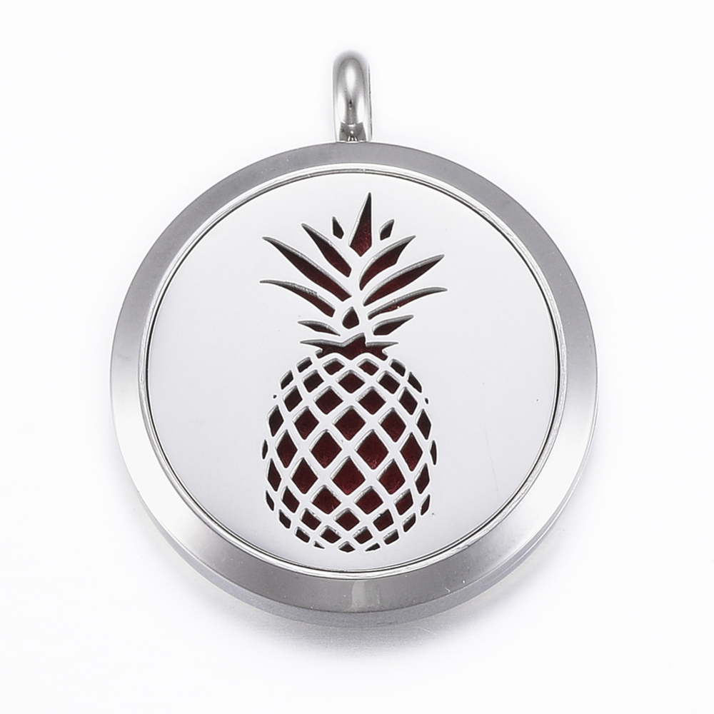 PandaHall_316_Stainless_Steel_Diffuser_Locket_Pendants_with_Perfume_Pad_and_Magnetic_Clasps_Flat_Round_with_Pineapple_Stainless_Steel