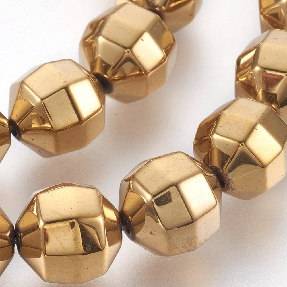 PandaHall_Electroplated_Nonmagnetic_Synthetic_Hematite_Bead_Strand_Round_Faceted_Golden_Plated_10x105mm_Hole_1mm_about_42pcsstrand