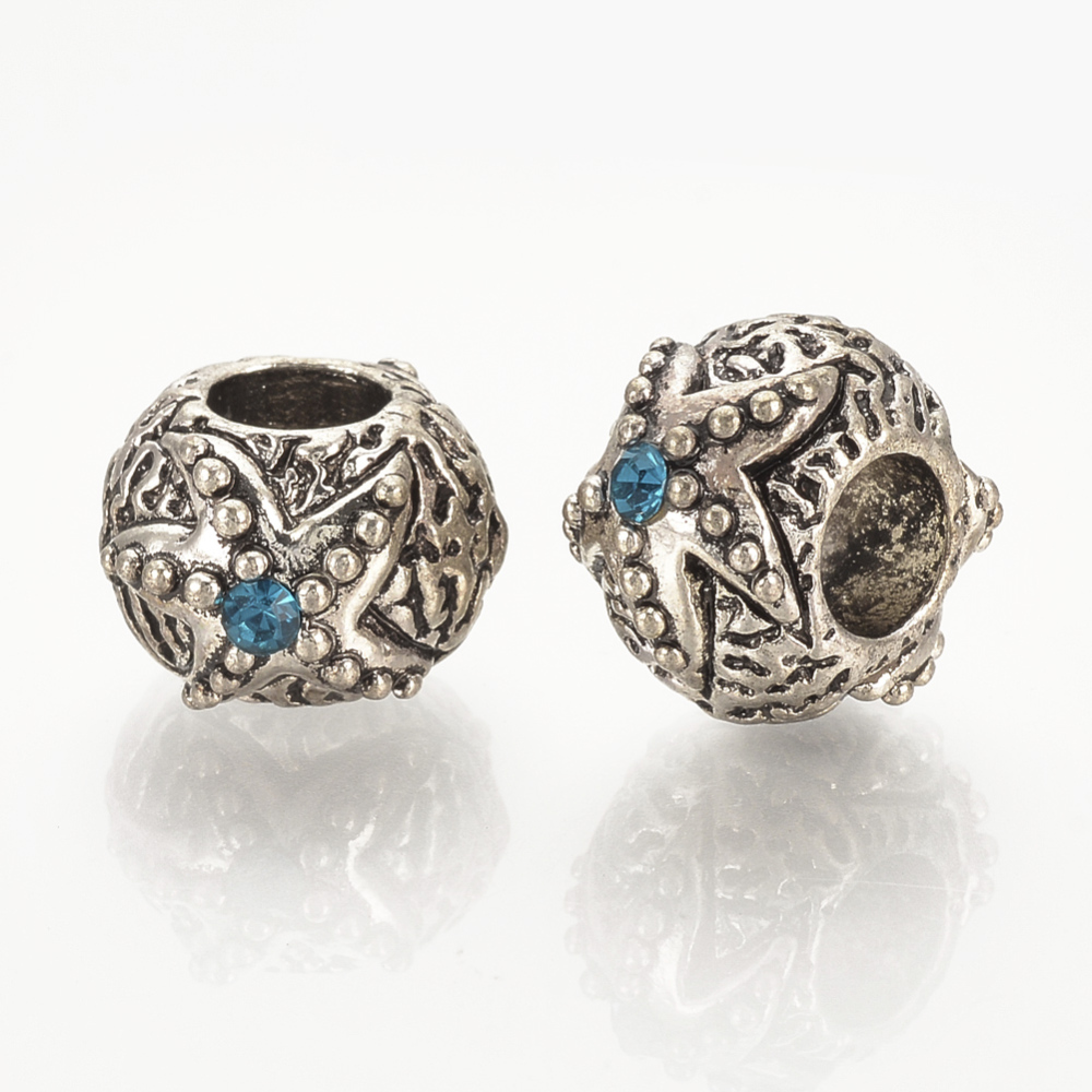 PandaHall_Alloy_European_Beads_with_Rhinestone_Large_Hole_Beads_Rondelle_with_Starfish_Antique_Silver_Aquamarine_8x13x115mm_Hole