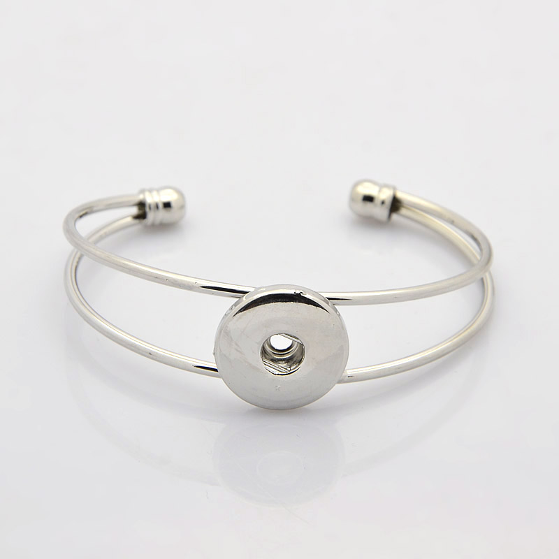 PandaHall Brass Cuff Bangle Makings for Snap Buttons, Platinum, 45x60mm; fit..