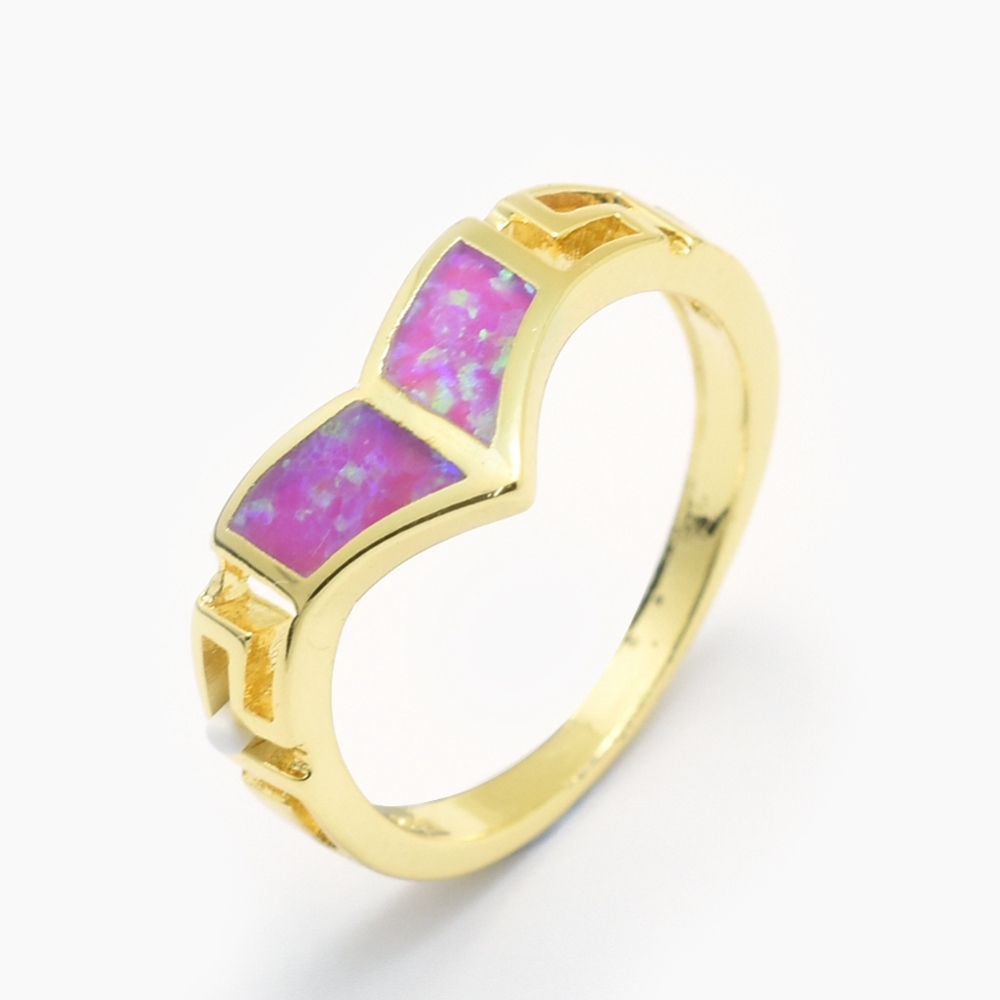PandaHall_Synthetic_Opal_Finger_Rings_with_Brass_Findings_LongLasting_Plated_Size_7_Orchid_Golden_17mm_Gemstone_Purple