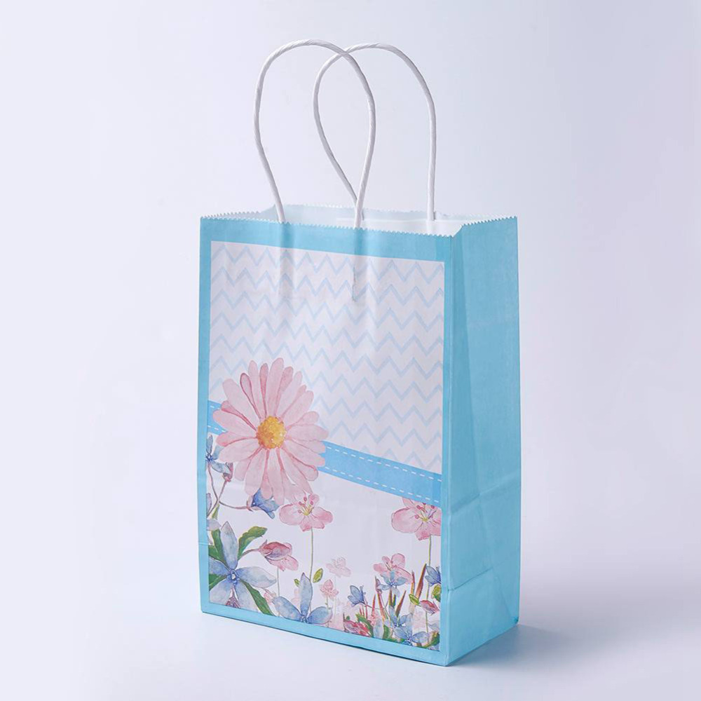 PandaHall_kraft_Paper_Pouches_Gift_Shopping_Bags_Rectangle_with_Flower_Pattern_LightSkyBlue_27x21x10cm_Paper_Blue