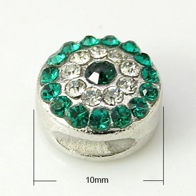 PandaHall Alloy Rhinestone Beads, Grade A, Platinum Color, Round, Emerald, 1..