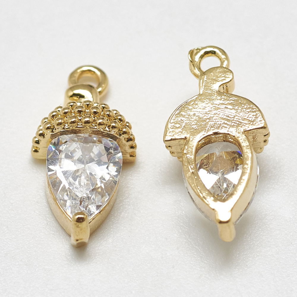 PandaHall_Brass_Charms_with_Cubic_Zirconia_Pine_Cone_Clear_Real_Gold_Plated_14x7x45mm_Hole_1mm_BrassCubic_Zirconia_Fruit_Clear