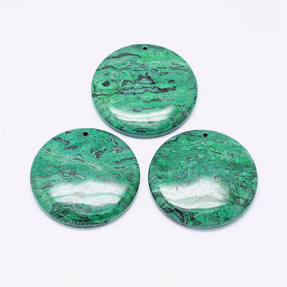 PandaHall_Natural_Green_Ripple_Jasper_Pendants_Round_Dyed_42~47x6~7mm_Hole_2mm_Gemstone_Flat_Round_Green