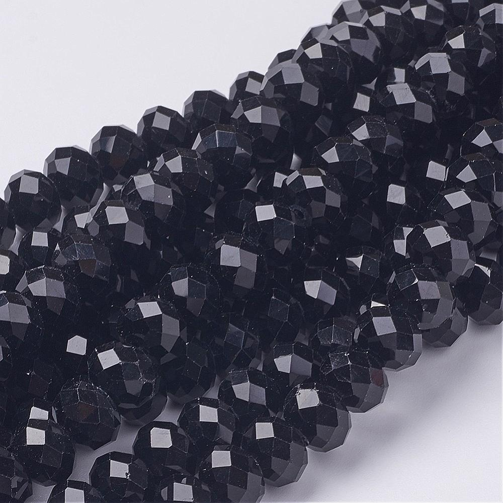 PandaHall_Handmade_Glass_Beads_Faceted_Rondelle_Black_10x7mm_Hole_1mm_about_72pcsstrand_Glass_Rondelle_Black
