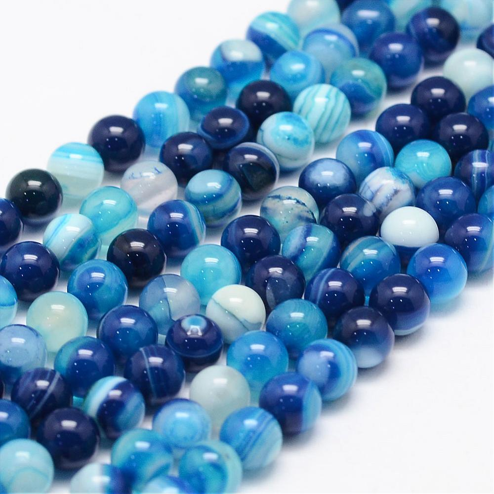 PandaHall_Natural_Striped_AgateBanded_Agate_Bead_Strands_Round_Grade_A_Dyed_DodgerBlue_6mm_Hole_1mm_about_62~63pcsstrand_145