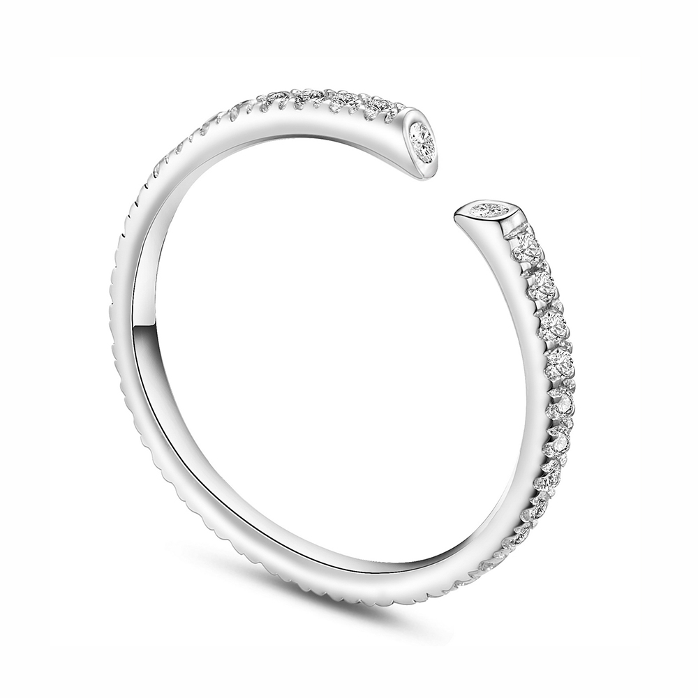 PandaHall SHEGRACE® Simple Design 925 Sterling Silver Cuff Ring, Micro Pave Grade AAA Cubic Zirconia, Silver, Size 8, 18mm Sterling...
