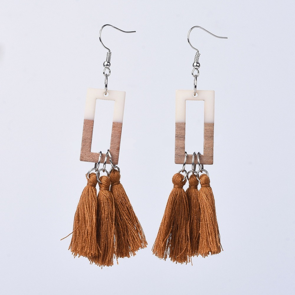 PandaHall_Resin_&_Wood_Tassel_Earrings_with_Platinum_Tone_Brass_Earring_Hooks_and_Cotton_Thread_Rectangle_SaddleBrown_905mm_Pin_07mm