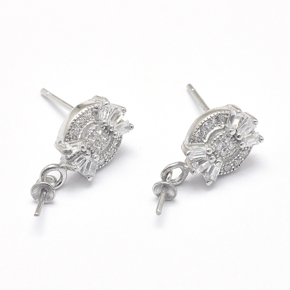 PandaHall_925_Sterling_Silver_Micro_Pave_Cubic_Zirconia_Stud_Earring_Findings_For_Half_Drilled_Beads_Clear_Platinum_Tray_7x3mm_Pin