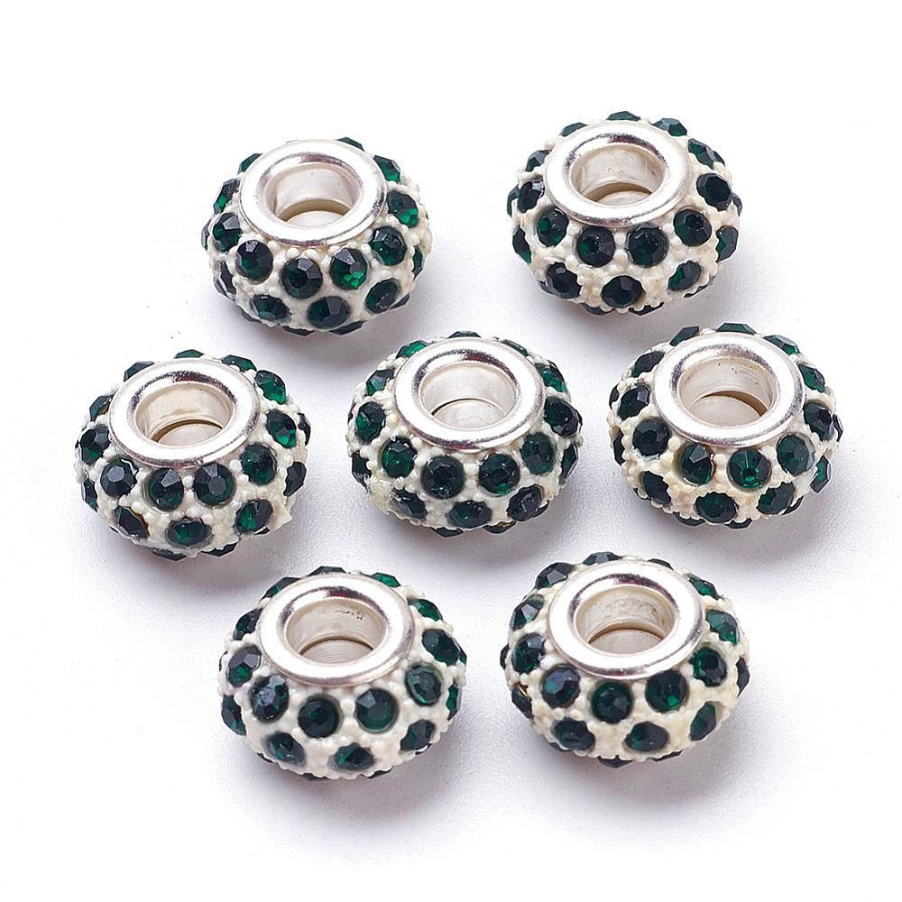 PandaHall Glass Rhinestone European Beads, Large Hole Beads, Resin with Silv..