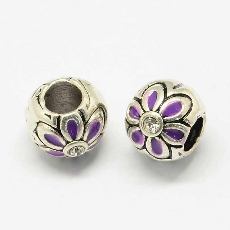 PandaHall Alloy Rhinestone Enamel Style European Beads, Large Hole Round Beads with Flower, DarkOrchid, 10x9mm, Hole: 4.5mm Alloy...