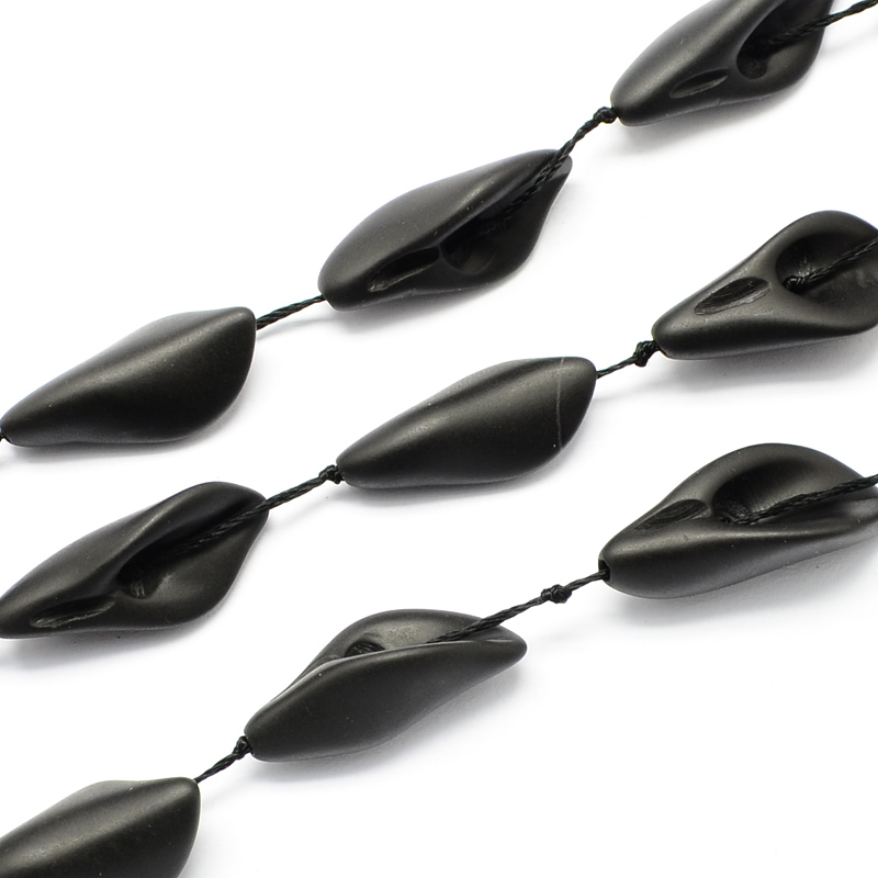 PandaHall_Matte_Frosted_Leaf_Shaped_Natural_Black_Stone_Beads_Strands_Black_27~30x12~15x9mm_Hole_1mm_about_12pcsstrand_157_Black