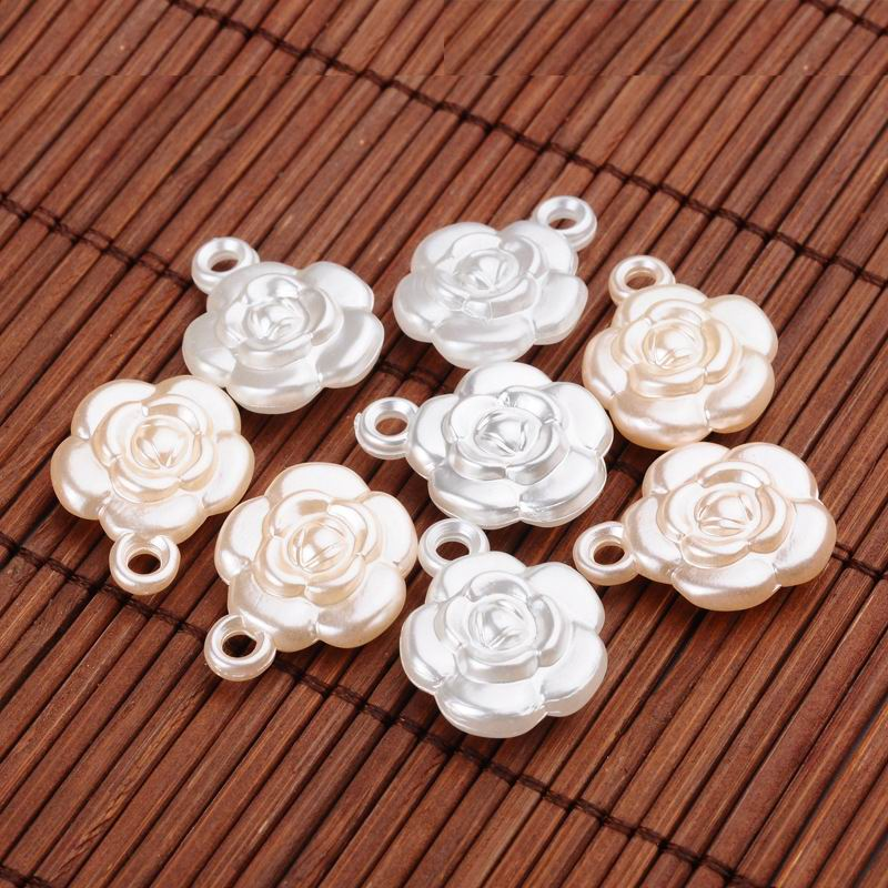 PandaHall_Rose_Flower_Imitation_Pearl_Acrylic_Pendants_Mixed_Color_225x175x75mm_Hole_2mm_about_517pcs500g_Acrylic_Flower_Multicolor