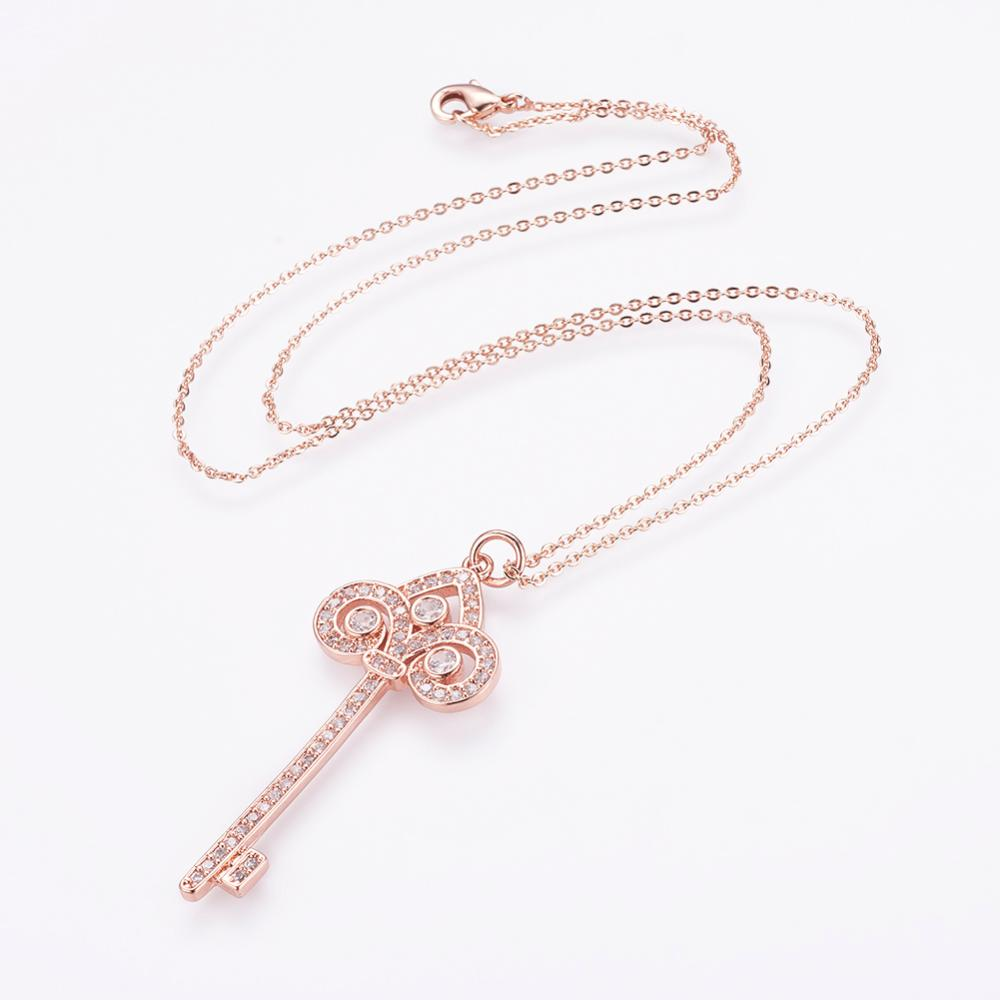 PandaHall_Brass_Micro_Pave_Cubic_Zirconia_Pendant_Necklaces_with_Brass_Cable_Chains_Real_Rose_Gold_Plated_Key_17745cm_Brass