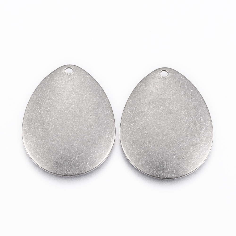 PandaHall_304_Stainless_Steel_Pendants_Drop_Stainless_Steel_Color_24x19x1mm_Hole_12mm_Stainless_Steel_Drop
