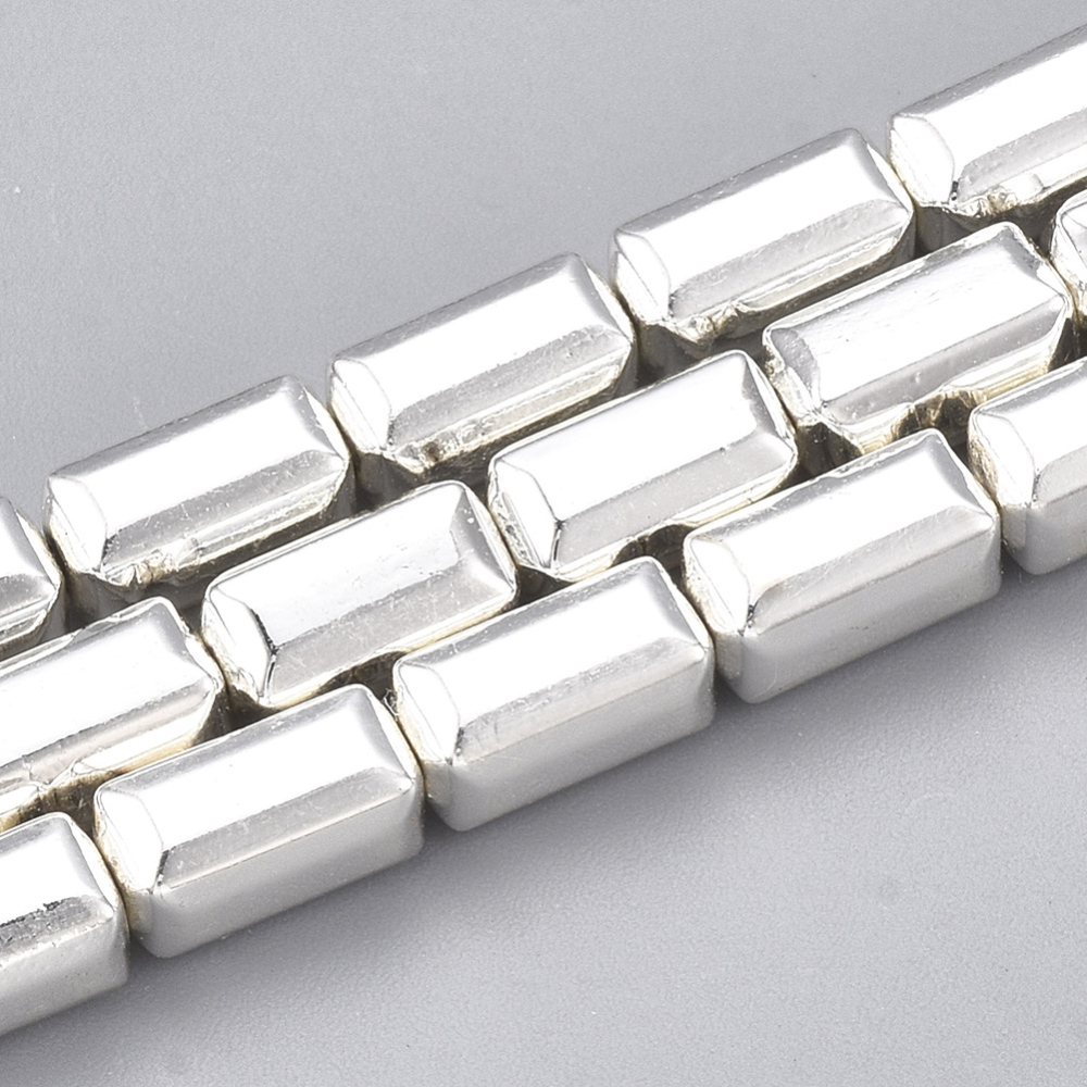 PandaHall_Electroplate_Nonmagnetic_Synthetic_Hematite_Beads_Strands_Cuboid_Silver_Plated_8x4x4mm_Hole_1mm_about_51pcsstrand_161