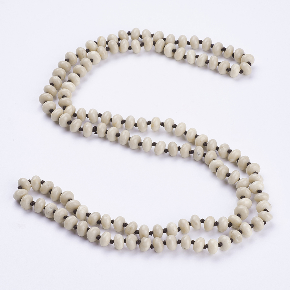 "PandaHall_Natural_Fossil_Beaded_Multi-use_Necklaces_Wrap_Bracelets,_Three-Four_Loops_Bracelets,_Abacus,_37.4""(95cm)_Gemstone"