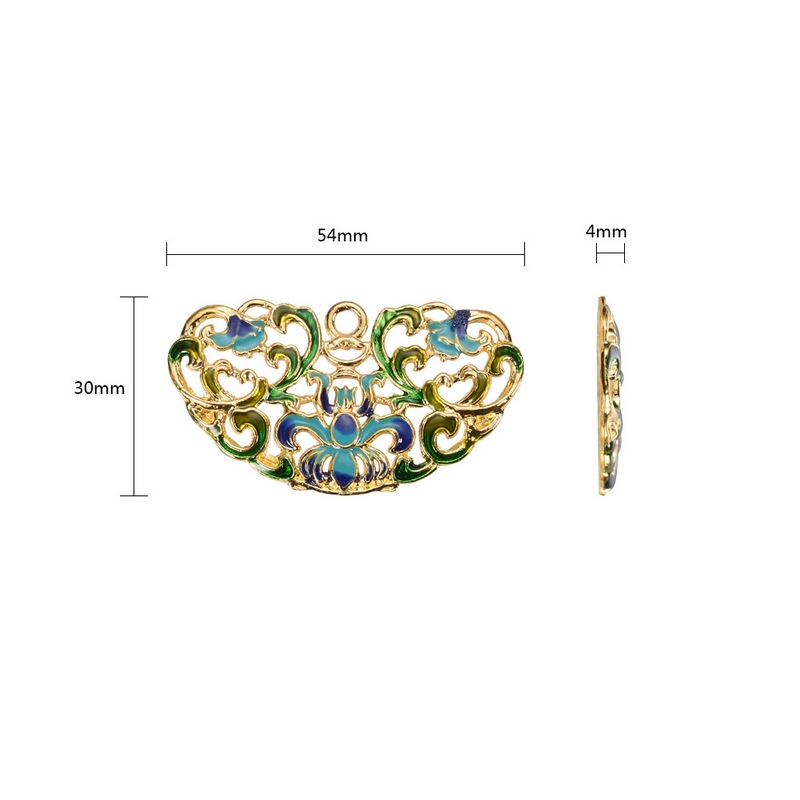 PandaHall_Chinese_Style_Alloy_Enamel_Big_Pendants_Flower_Golden_Colorful_30x54x4mm_Hole_35mm_AlloyEnamel_Flower
