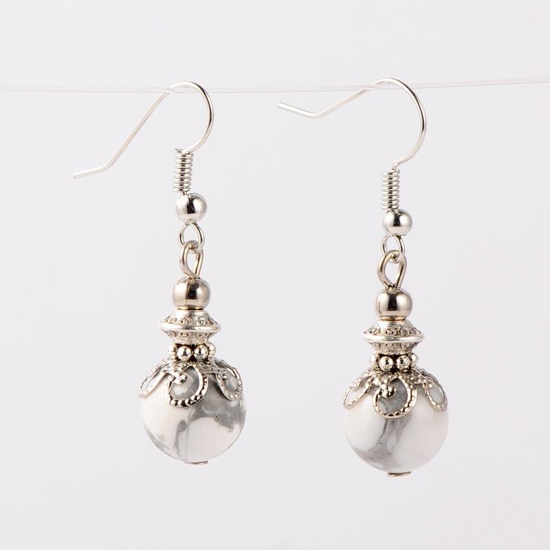 PandaHall Gemstone Dangle Earrings, with Tibetan Silver Beads, Iron Beads and Brass Earring Hooks, Platinum, Howlite, 38mm; Pin: 0.7mm...