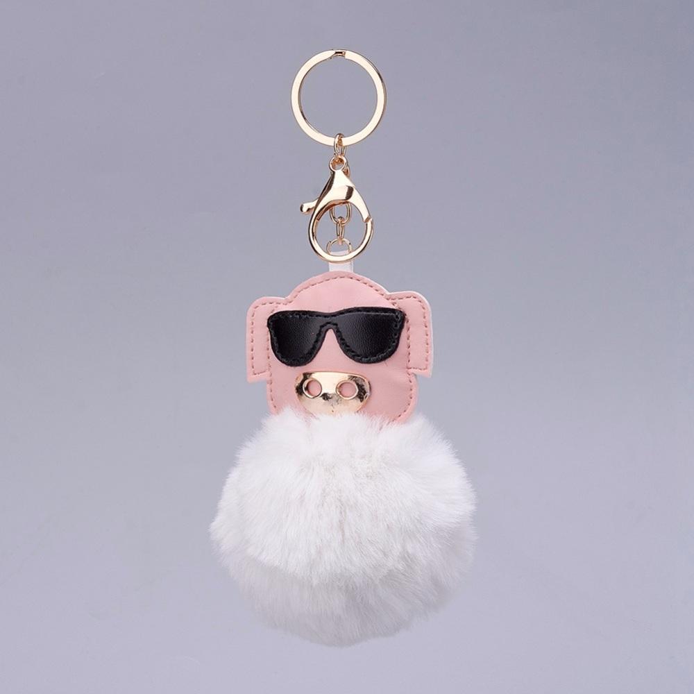 PandaHall Pom Pom Ball Key Chains, with Alloy Lobster Claw Clasps, Iron Key ..