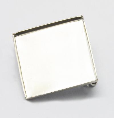 PandaHall Rhombus Brass Brooches, with Iron Pins, Platinum, Tray: 22x22mm; 2..
