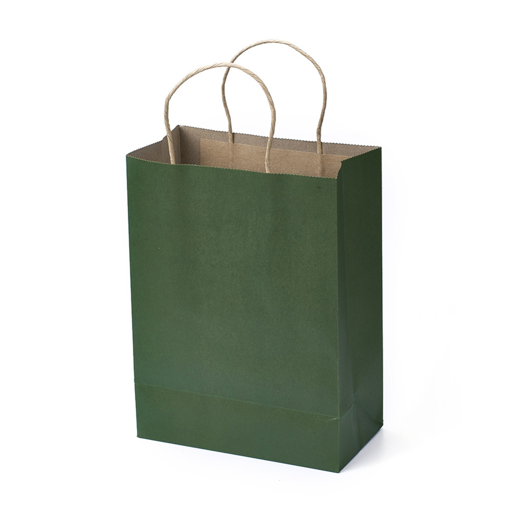 PandaHall_Paper_Bag_with_Handle_Rectangle_Green_21x11x28cm_Paper_Green