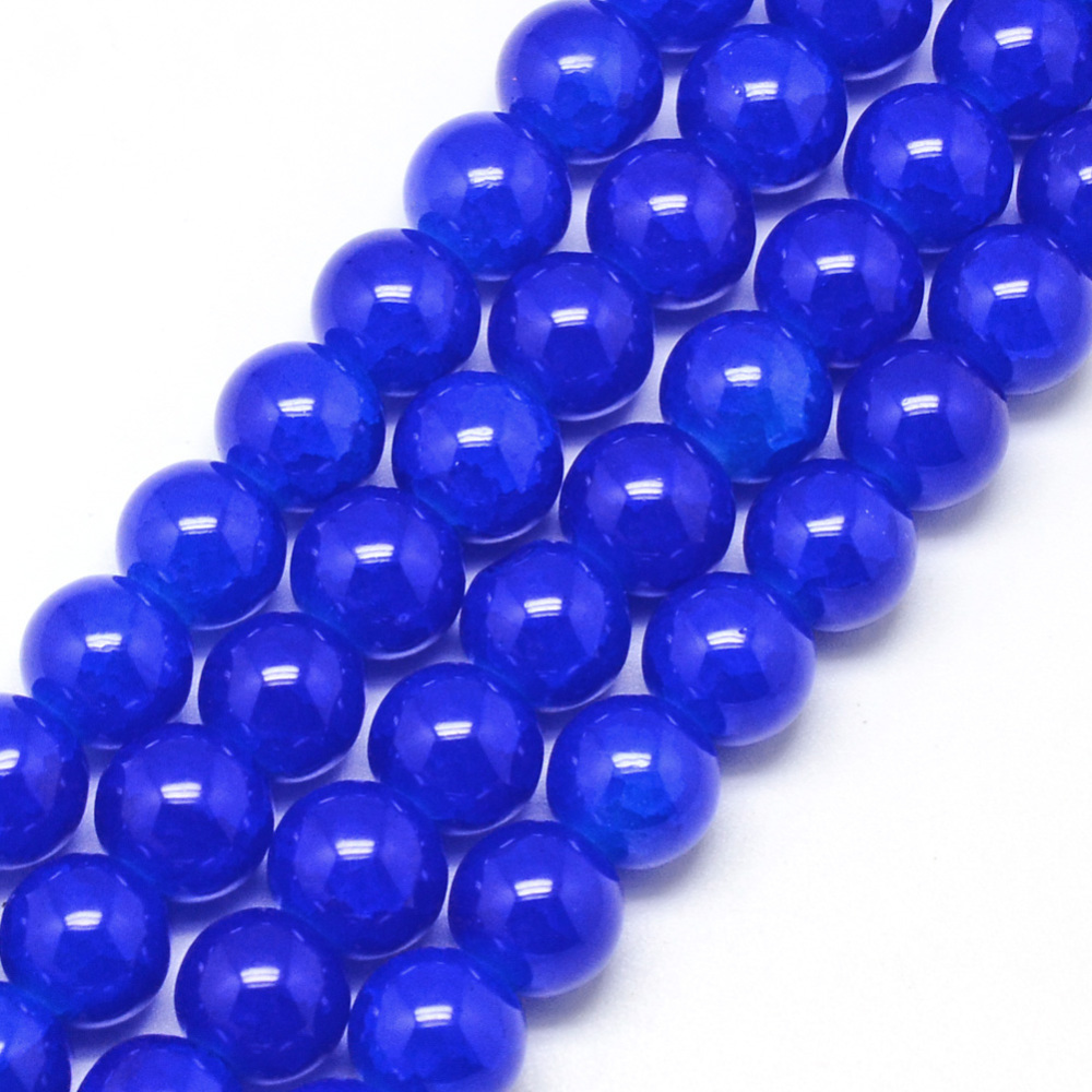 PandaHall_Baking_Painted_Crackle_Glass_Bead_Strands_Round_Blue_8mm_Hole_13~16mm_about_100pcsstrand_314_Glass_Round_Blue