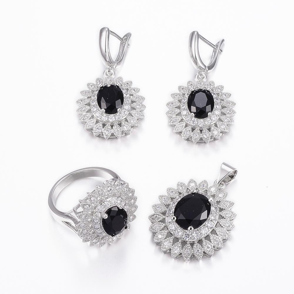 PandaHall_Trendy_Brass_Micro_Pave_Cubic_Zirconia_Jewelry_Sets_Pendants_&_Hoop_Earrings_&_Finger_Rings_Oval_Platinum_Black_Size_717mm
