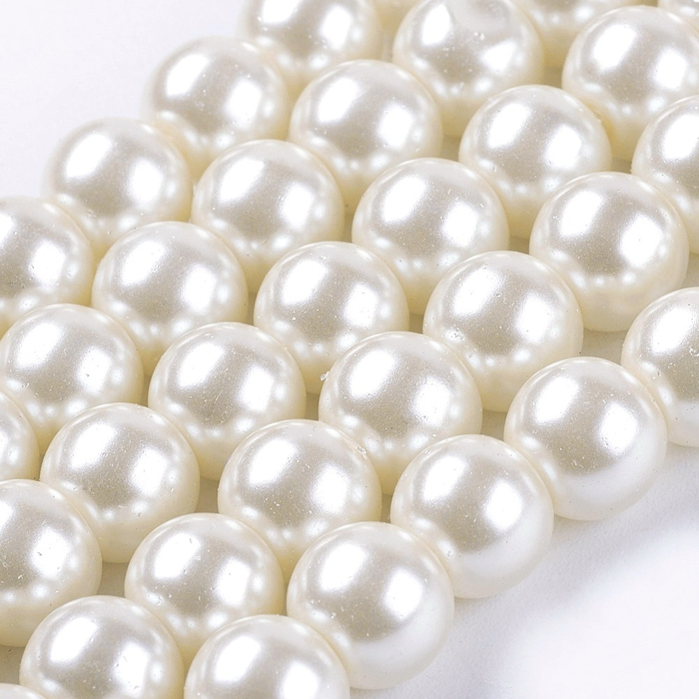 PandaHall_Glass_Pearl_Beads_Strands_Pearlized_Round_Ivory_8mm_Hole_1mm_about_105pcsstrand_32_Round_Ivory