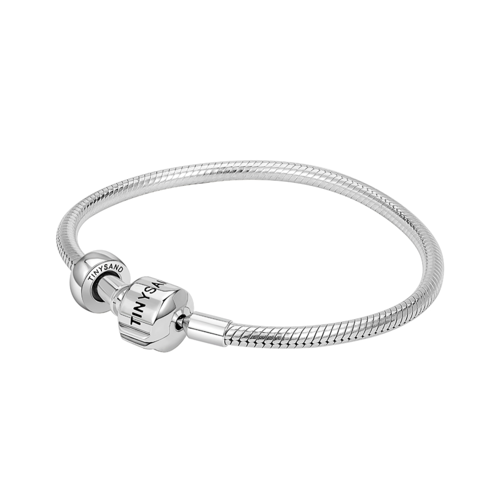 PandaHall_TINYSAND&reg_Sterling_Silver_Tinysand_Stopper_European_Bracelets,_Silver,_170mm;_Packing_Size:_11x11.4x2.3cm_Sterling_Silver