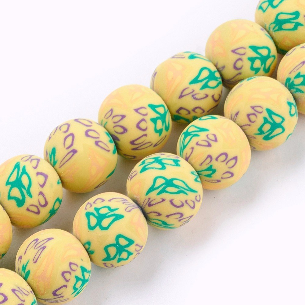 PandaHall_Handmade_Polymer_Clay_Bead_Strands_Round_with_Flower_Yellow_10~13mm_Hole_1~2mm_about_30pcsstrand_1240~1409