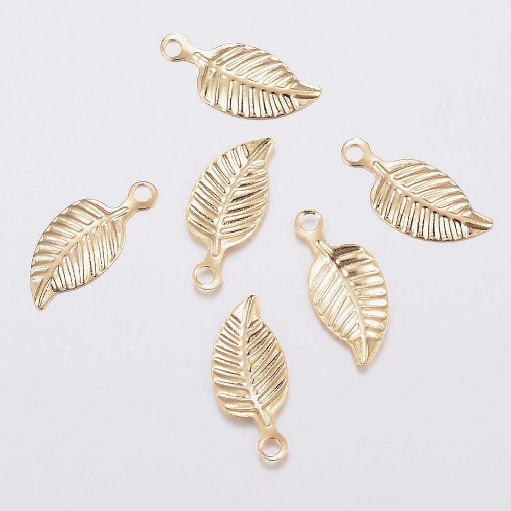 PandaHall_304_Stainless_Steel_Charms_Leaf_Golden_145x6x1mm_Hole_12mm_Stainless_Steel_Leaf