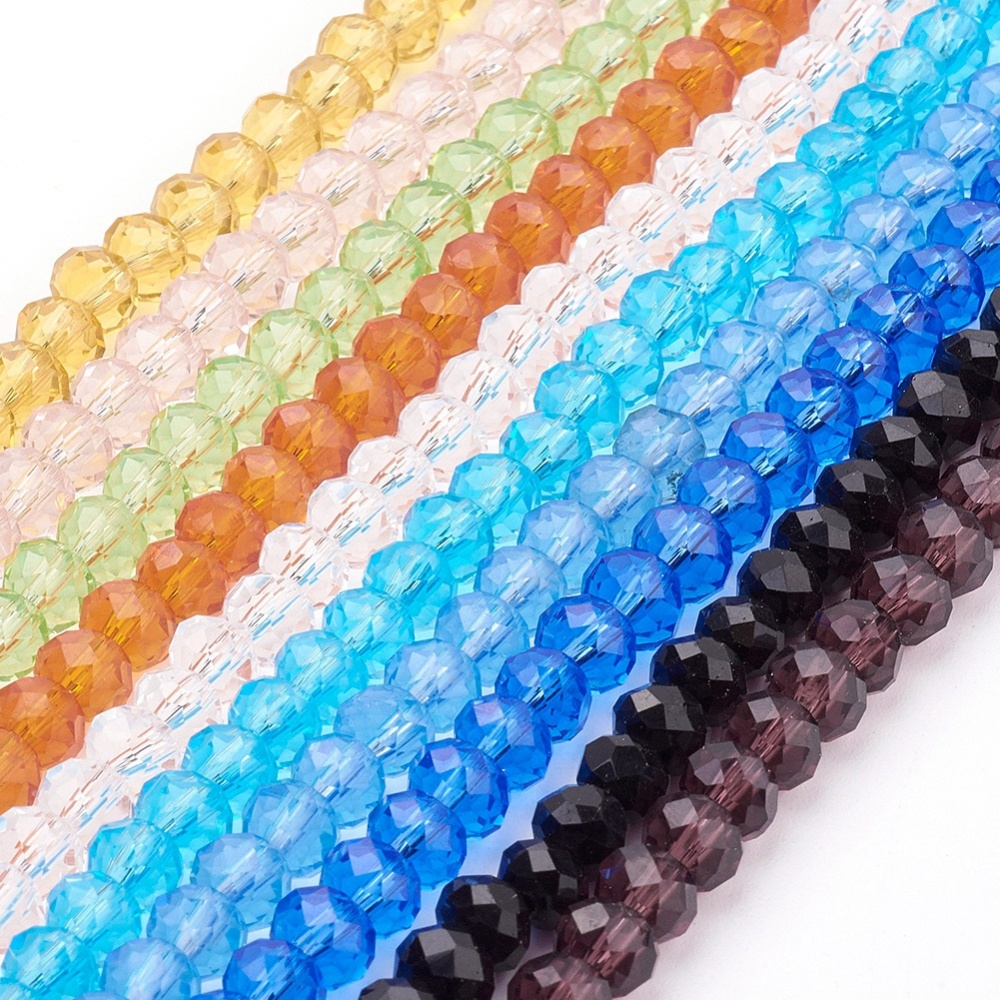 PandaHall_Handmade_Glass_Glass_Beads_Faceted_Rondelle_Mixed_Color_8x6mm_Hole_1mm_about_68~70pcsstrand_Glass_Rondelle_Multicolor