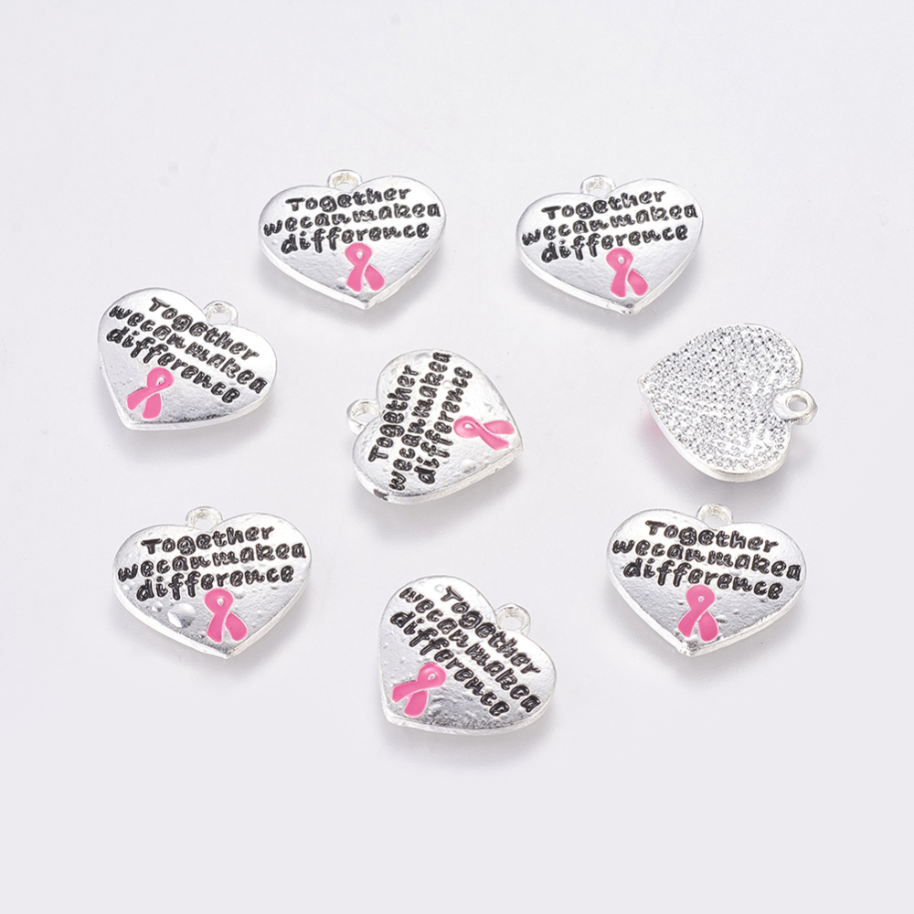 PandaHall Silver Tone Heart with Breast Cancer Pink Awareness Ribbon Alloy A..