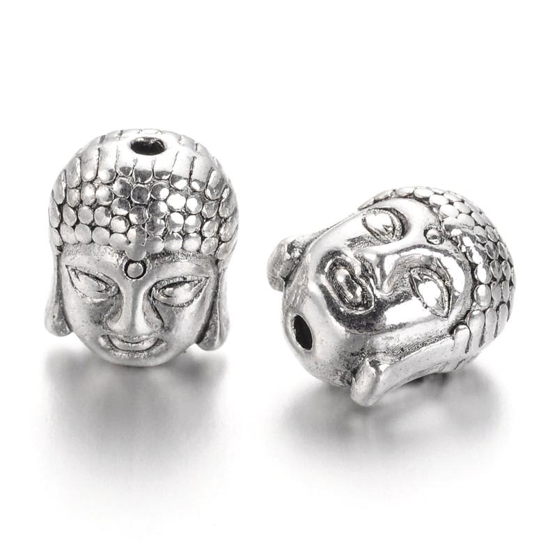 PandaHall_Antique_Silver_Tibetan_Style_Buddha_Head_Beads_Lead_Free_11x9x8mm_Hole15mm_Alloy_Human